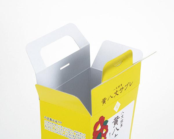 化粧箱屋ドットコム コマガタ お土産の箱 お菓子 開けたところ 取っ手付き化粧箱