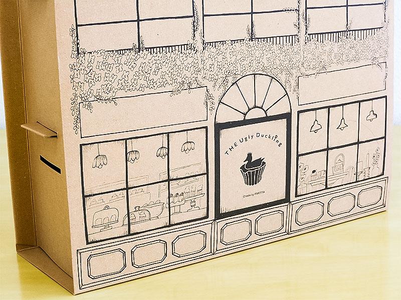 カップケーキ化粧箱 ドールハウス型 イラスト拡大